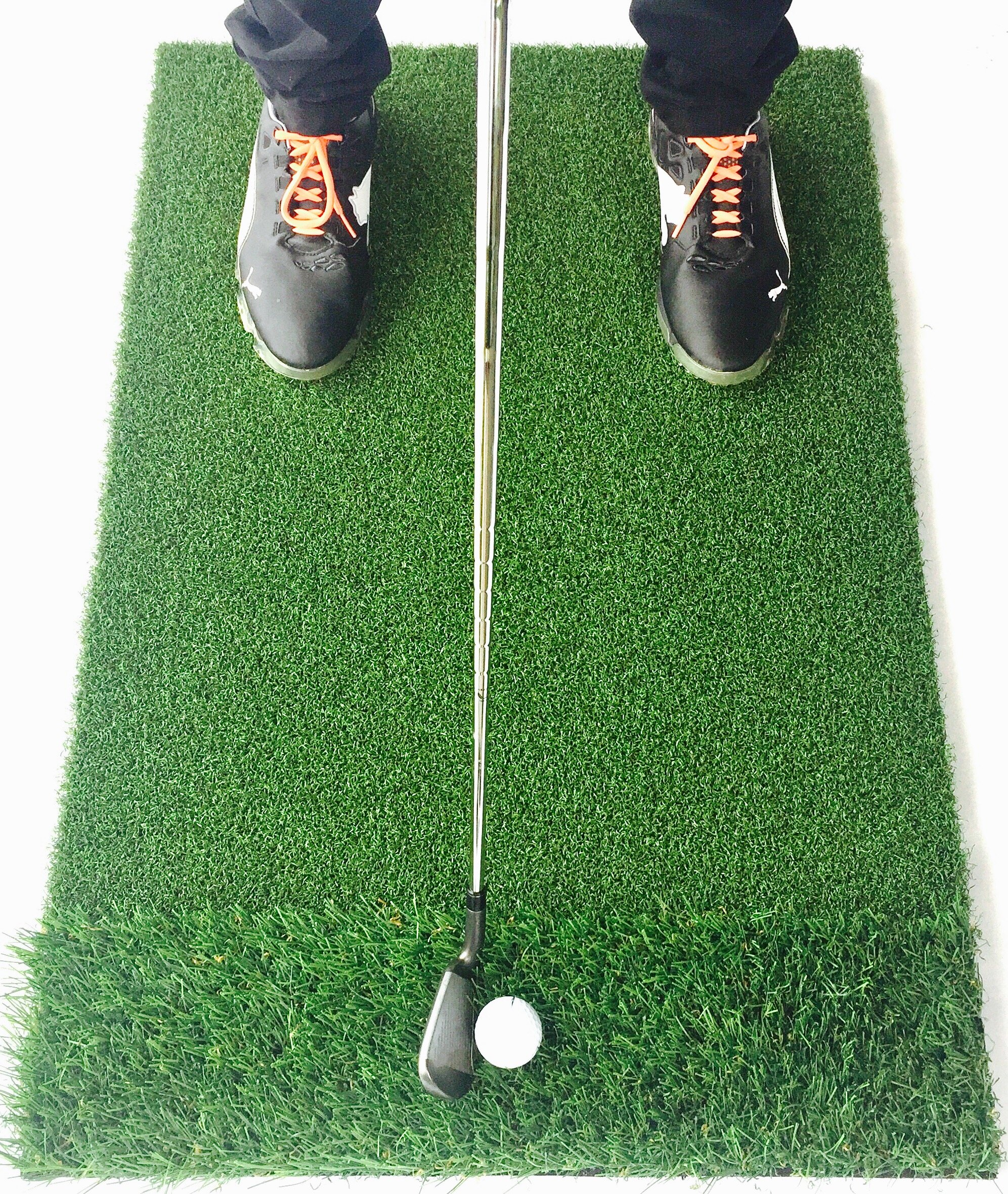 StrikeDown Dual-Turf PRO Golf Hitting Mat | Fairway/Rough Grass, Shockpad, Practice Indoors/Outdoors (36in x 24in) by Motivo Golf