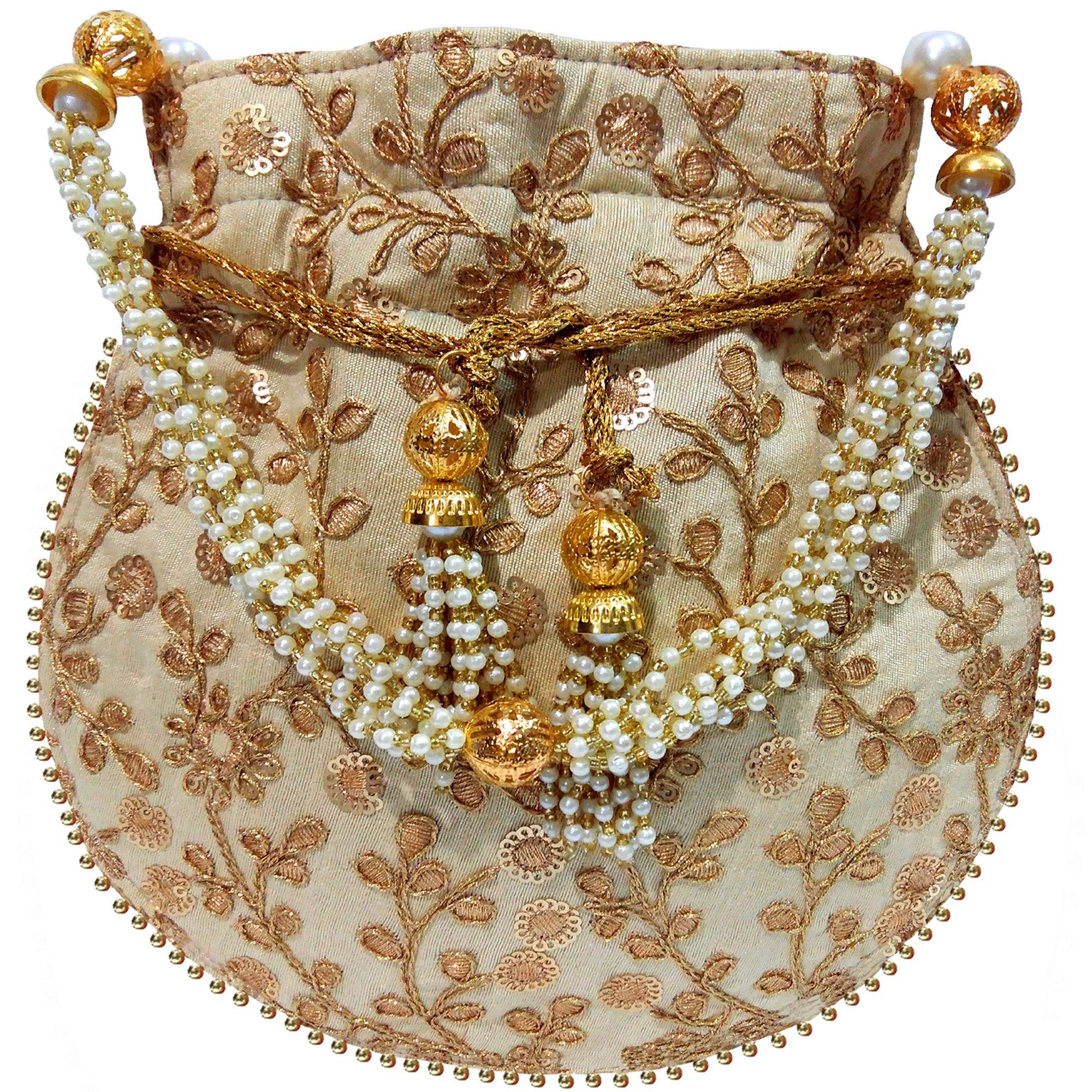 Wedding Women Purse Party Designer Bridal Clutch/Jewelry Pouch/Indian Evening Potli Handbag (10 x 8 x 1.75 inches, Lavish Beige)