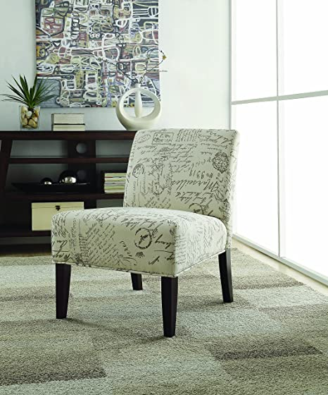Amozon Accent Chairs.Coaster Home Furnishings French Script Accent Chair Off White And Cappuccino