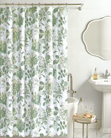 Nicole Miller Botanical Nature Fabric Shower Curtain Cotton Bland 72 Inch  By 72 Inch