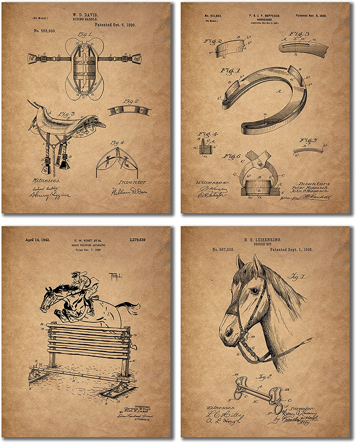 Horse Riding Patent Prints - Set of 4 Equestrian Decor Wall Art Photos