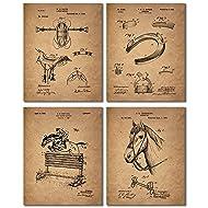 Horse Riding Patent Prints - Set of Four Equestrian Decor Wall Art Photos