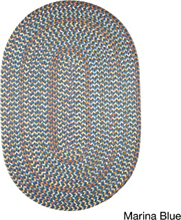 product image for Rhody Rug Cozy Cove Indoor/Outdoor Braided Rug Marina Blue 7' x 9' Oval Border 0.25-0.5 inch Antimicrobial, Stain Resistant 7' x 9' Outdoor, Indoor