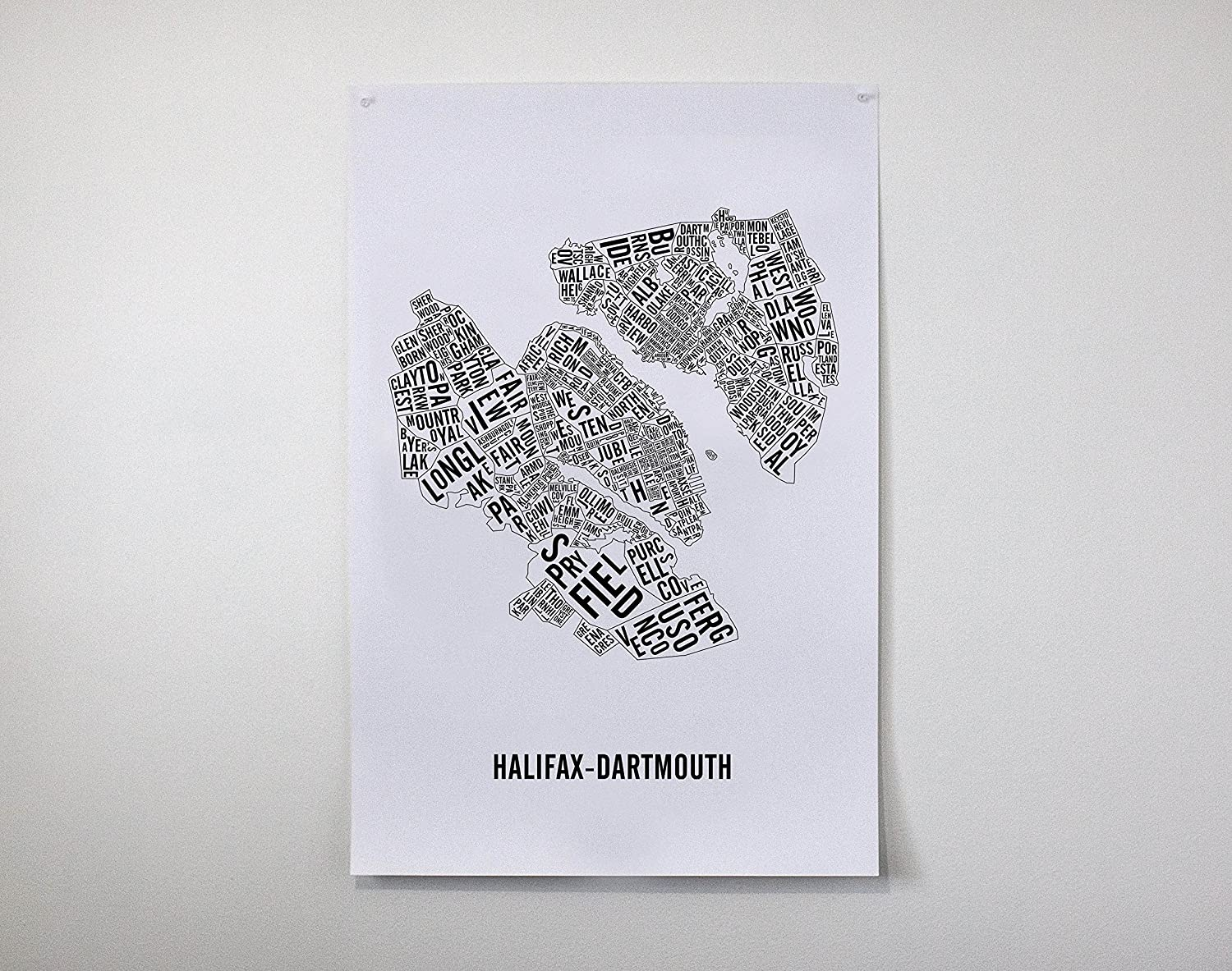Halifax-Dartmouth City Map Poster - Halifax Art - Halifax Poster - Typo Map