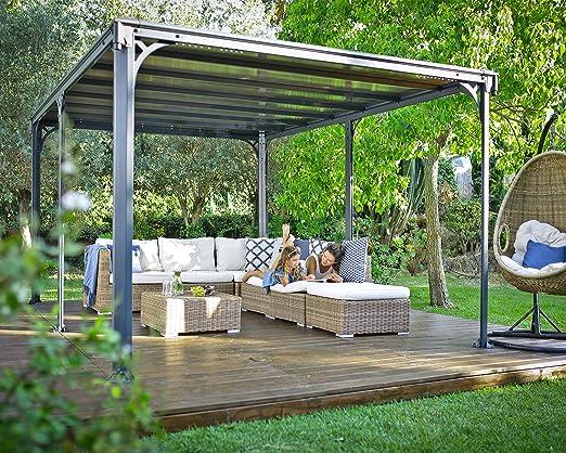 Palram Milano 4300 Tonnelle De Jardin Toit Plat Structure Aluminium Et Toit Rigide 4x3 Pour Couvrir Une Terrasse Toute L Annee Garantie 10 Ans Amazon Fr Jardin