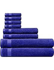 Welhome 100% algodón Conjunto 8 Pieza Toalla (Azul Marino); 2 Toallas de baño, 2 Toallas de Mano y 4 Estropajos, Lavable a máquina
