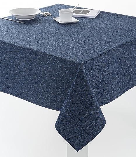 ESTELA - Mantel Burgos Color Azul Marino - 100x140 cm - Resinado Impermeable - Confección en Dobladillo - Tejido Jacquard - 50% Algodón / 50% ...