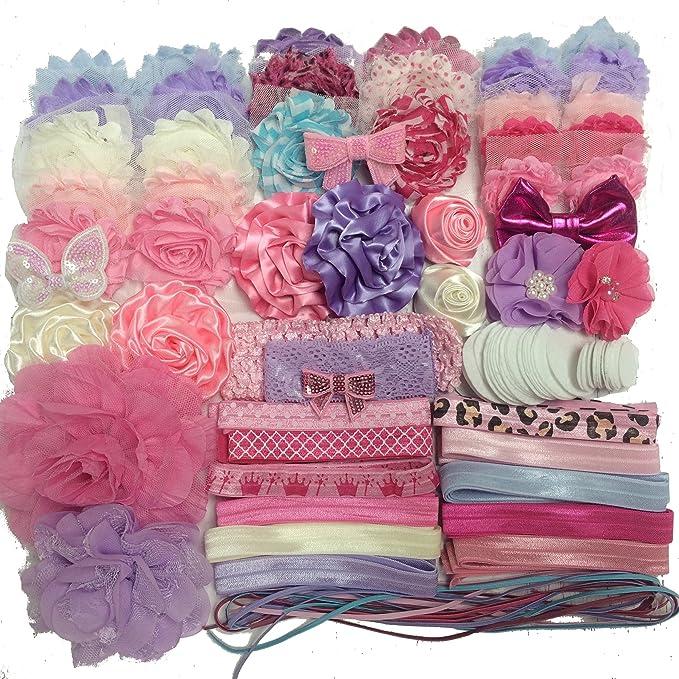 Deluxe DIY Hair Bow Kit Grab Bag Baby Shower Headband Station Kit 30 Headbands 5 Clips Baby Shower Headband Kit Shabby Flowers