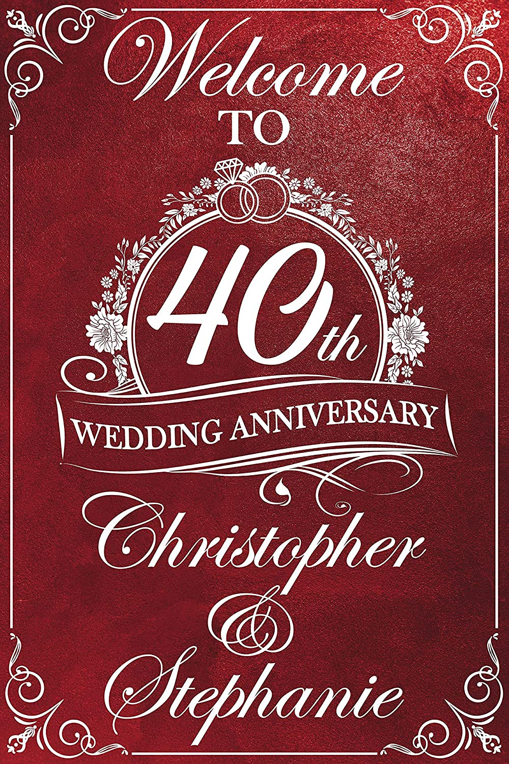 40th Wedding Anniversary Sign, 40th Anniversary Gift for Parents, Personalized 40th Anniversary Gift Size 36x24, 40th Anniversary Banner, Anniversary Party ...
