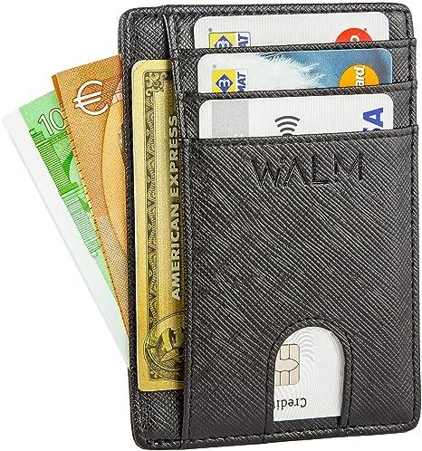 607881fbc6 Portafoglio Uomo Piccolo Sottile e Porta Carte di Credito in Pelle con  Protezione RFID by WALM