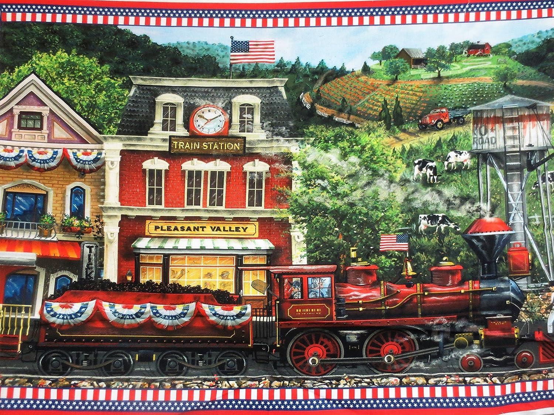 Sweet Land Of Liberty Train Station Panel Northcott Cotton Fabric DP21642-24