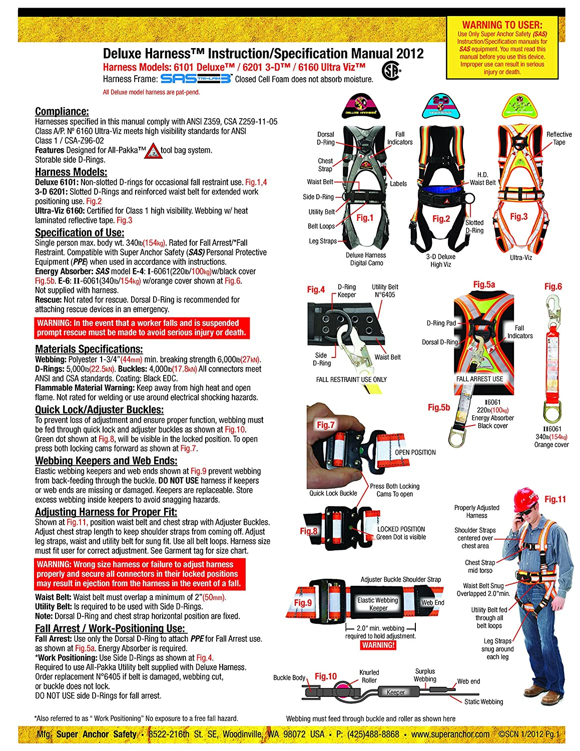 Large Long Red Super Anchor Safety 6151-RLL Deluxe Full Body Harness plus All-Pakka Tool Bag Combo