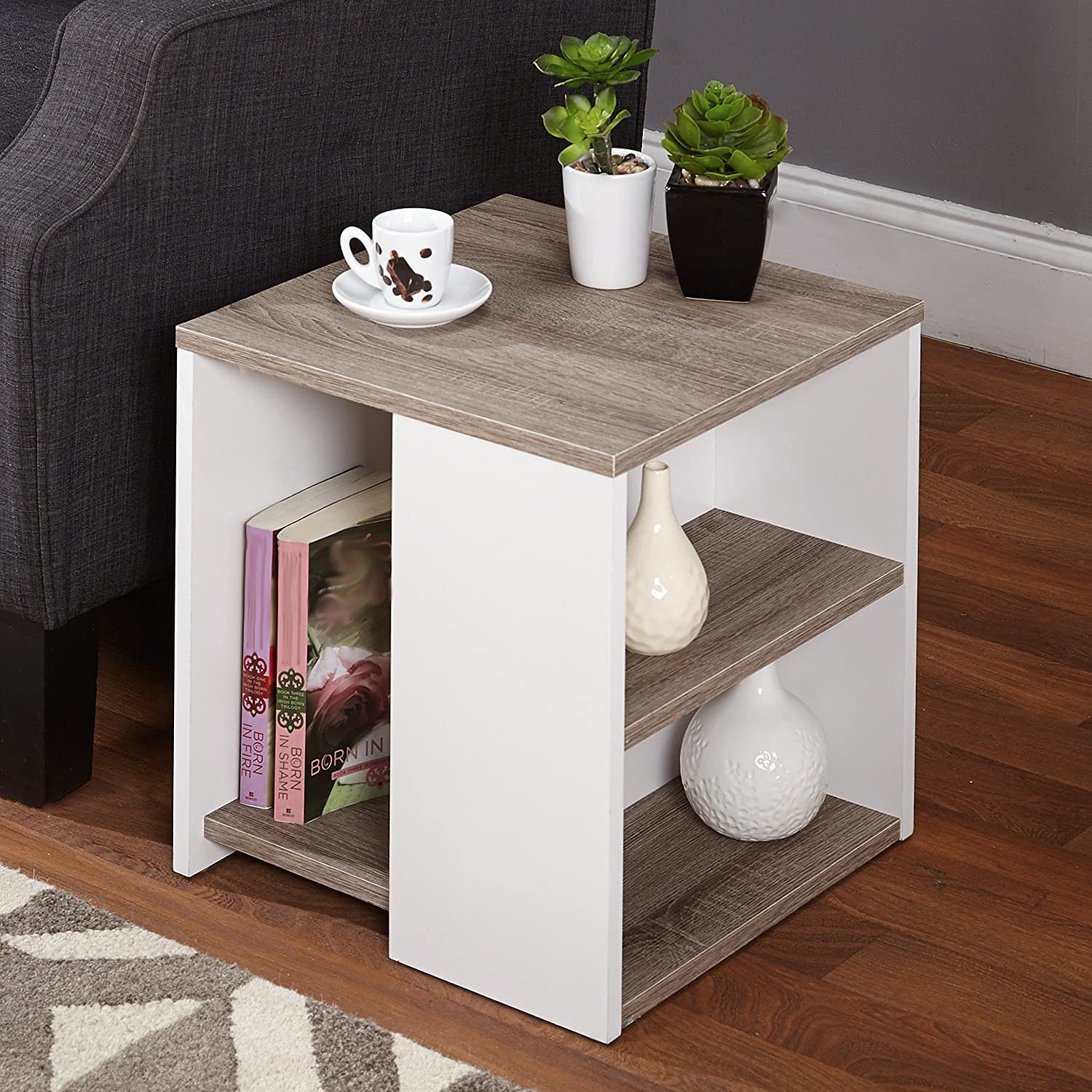 Amazon Simple Living Urban End Table White Sonoma oak