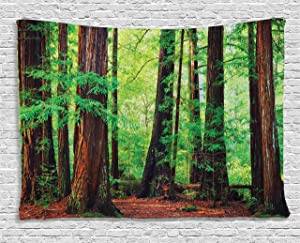 """Ambesonne Woodland Tapestry, Redwood Trees Northwest Rain Forest Tropical Scenic Wild Nature Lush Branch, Wide Wall Hanging for Bedroom Living Room Dorm, 80"""" X 60"""", Brown Green"""