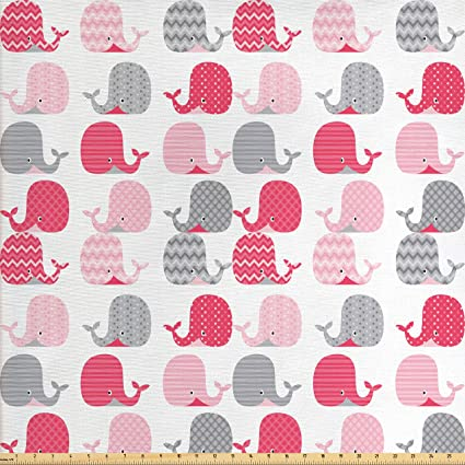 Amazon Com Ambesonne Whale Decor Fabric By The Yard Cute Patterned