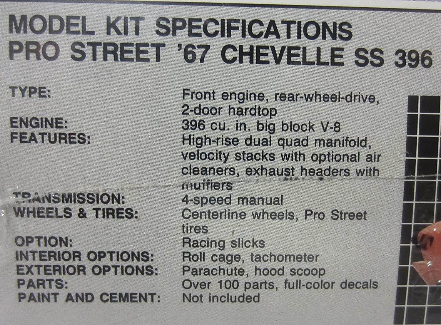 Amt 6986 Pro Street 1967 Chevelle Ss 396 125 Scale 67 Tachometer Wiring Diagram Plastic Model Kit Requires Assembly Toys Games