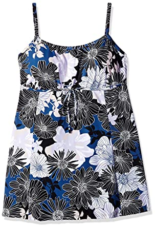 a63b27b268 Shape Solver Women's Plus-Size Chelsea Empire Bow Swimdress One Piece  Swimsuit, Multi,