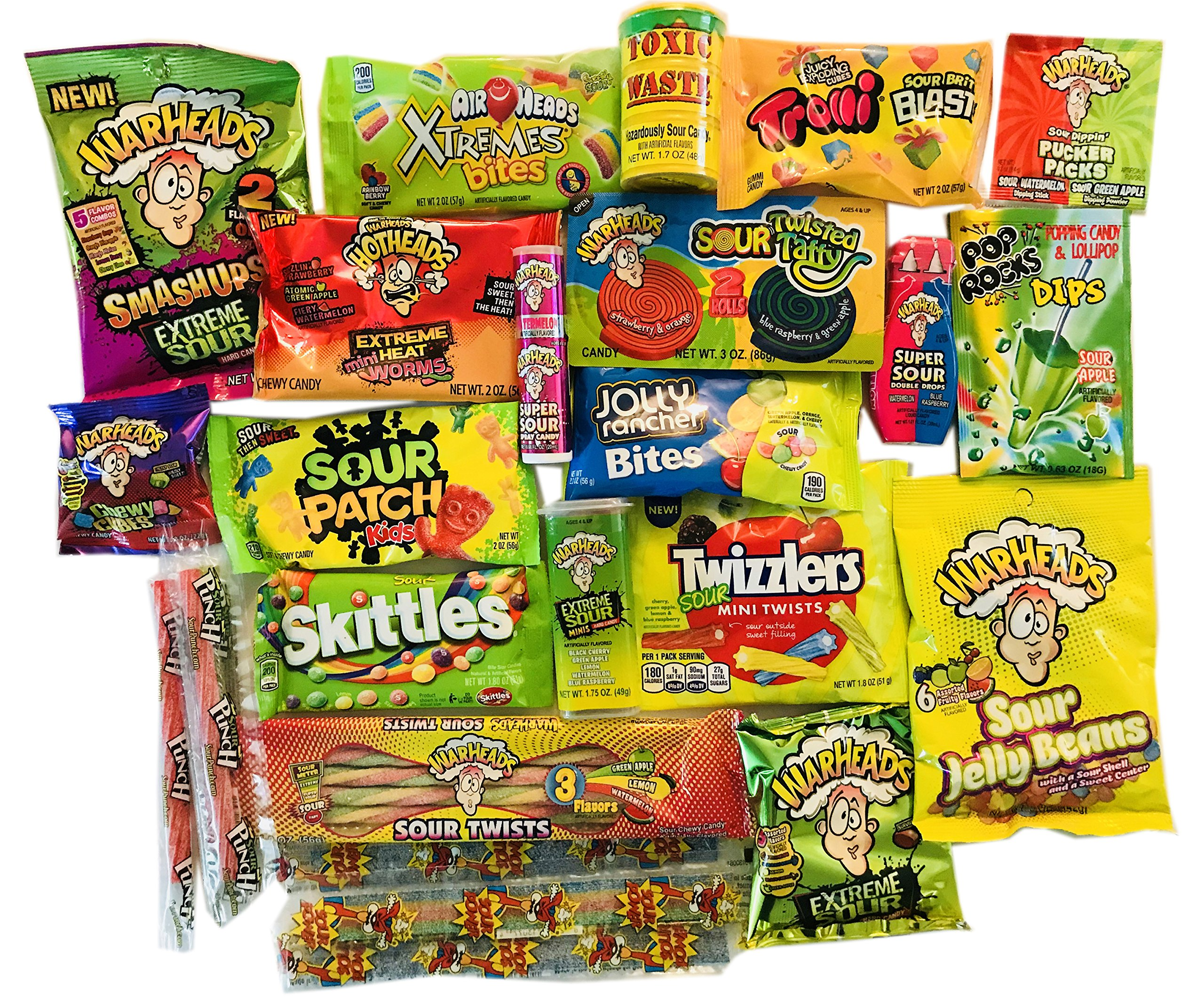 Sour Candy Assortment Gift Box ~ Warheads Extreme Sour Hard Candy, Toxic Waste, Sour Patch Kids, Belts, Spray, Straws, Airheads Xtreme Bites, Brite Blasts, Pop Rocks Dip, Pucker Pack Powder, and more by Woodstock Candy (Image #2)