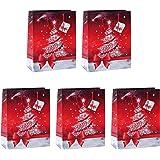Sigel GT022/5 große Papier-Geschenktüten 33 x 26 cm, 5er Set, für Weihnachten