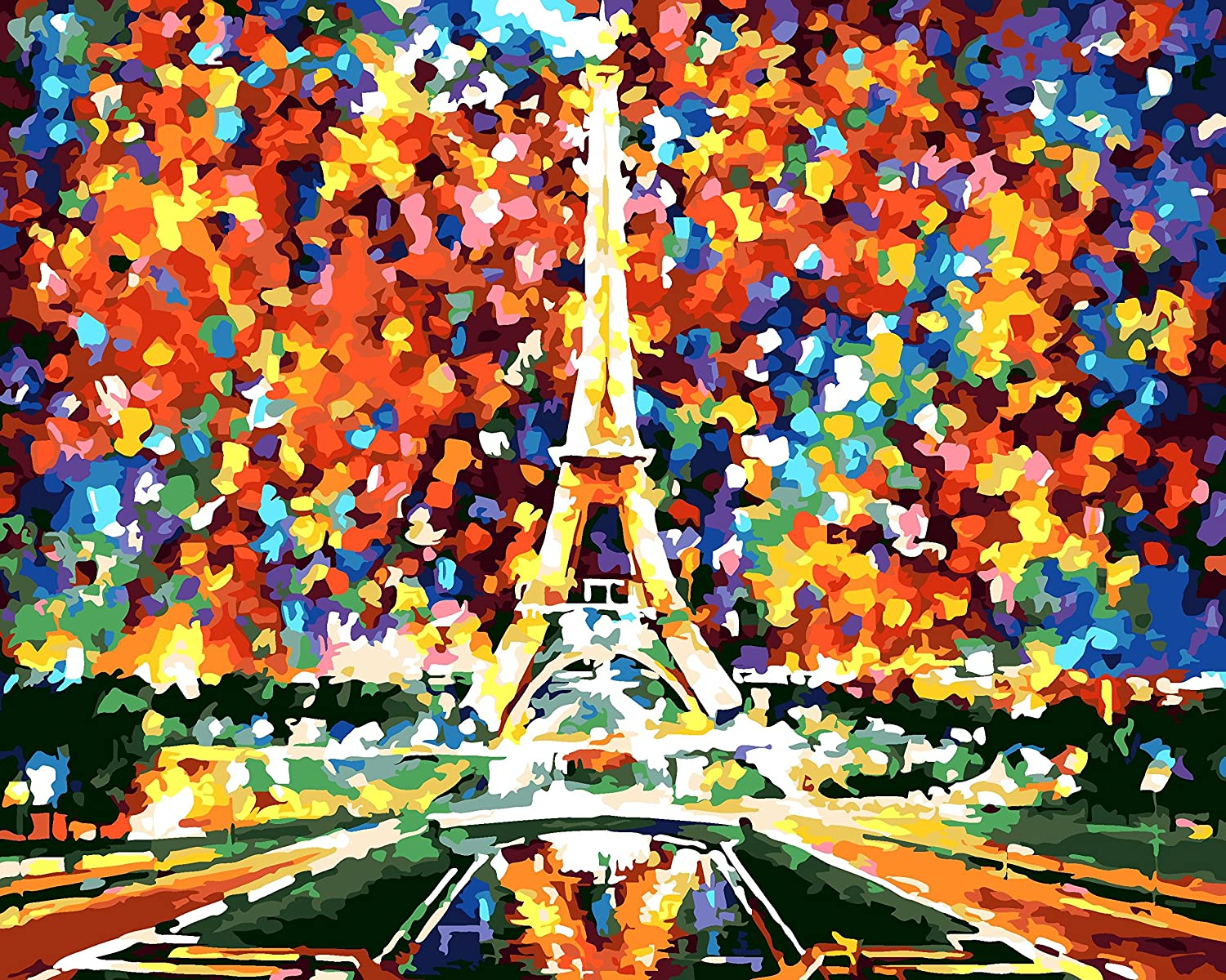 DIY Pre-Printed Canvas Oil Painting Gift for Adults Kids Paint by Number Kits With Wooden Frame for Home Decor - Autumn 16*20 inch NCFDBL