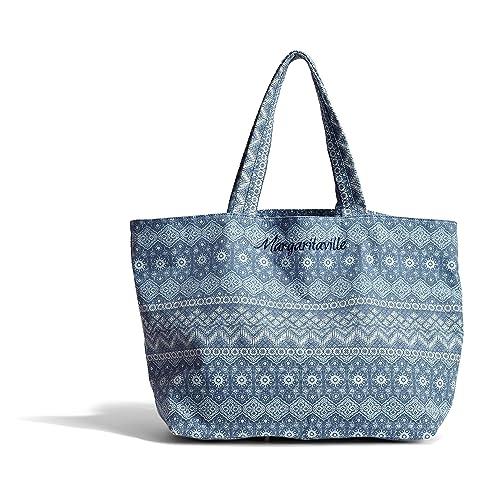 c42da0f3c Amazon.com: Margaritaville Womens Girls Everything Large Packable Canvas  Market Tote Bag Mosaic Blue: Clothing