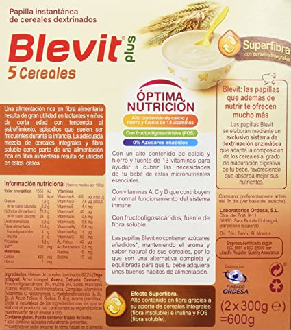 BLEVIT Plus Superfibra 5 Cereales 600G