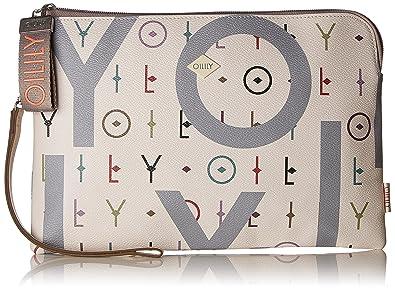 Oilily - Jolly Letters Clutch Lhz, Carteras de mano con asa Mujer, Blanco (