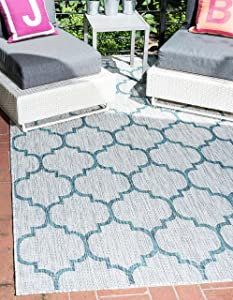Unique Loom Outdoor Trellis Collection Casual Moroccan Lattice Transitional Indoor and Outdoor Flatweave Gray/Blue Area Rug (4' 0 x 6' 0)
