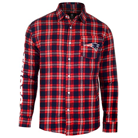 687f1d91 Image Unavailable. Image not available for. Color: New England Patriots  Wordmark Basic Flannel Shirt Large
