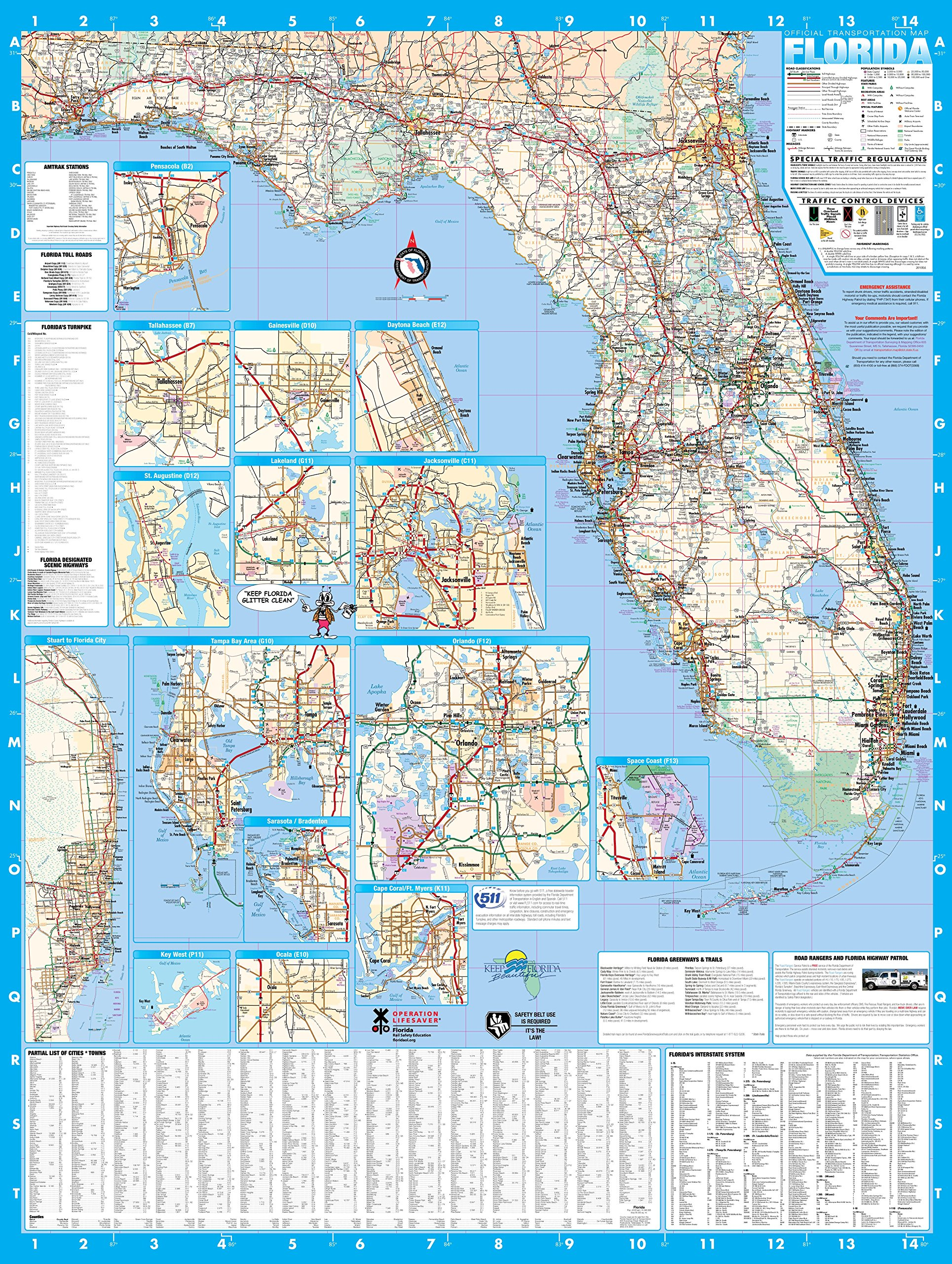 Florida State Laminated Wall Map Poster 36x48 by Swiftmaps