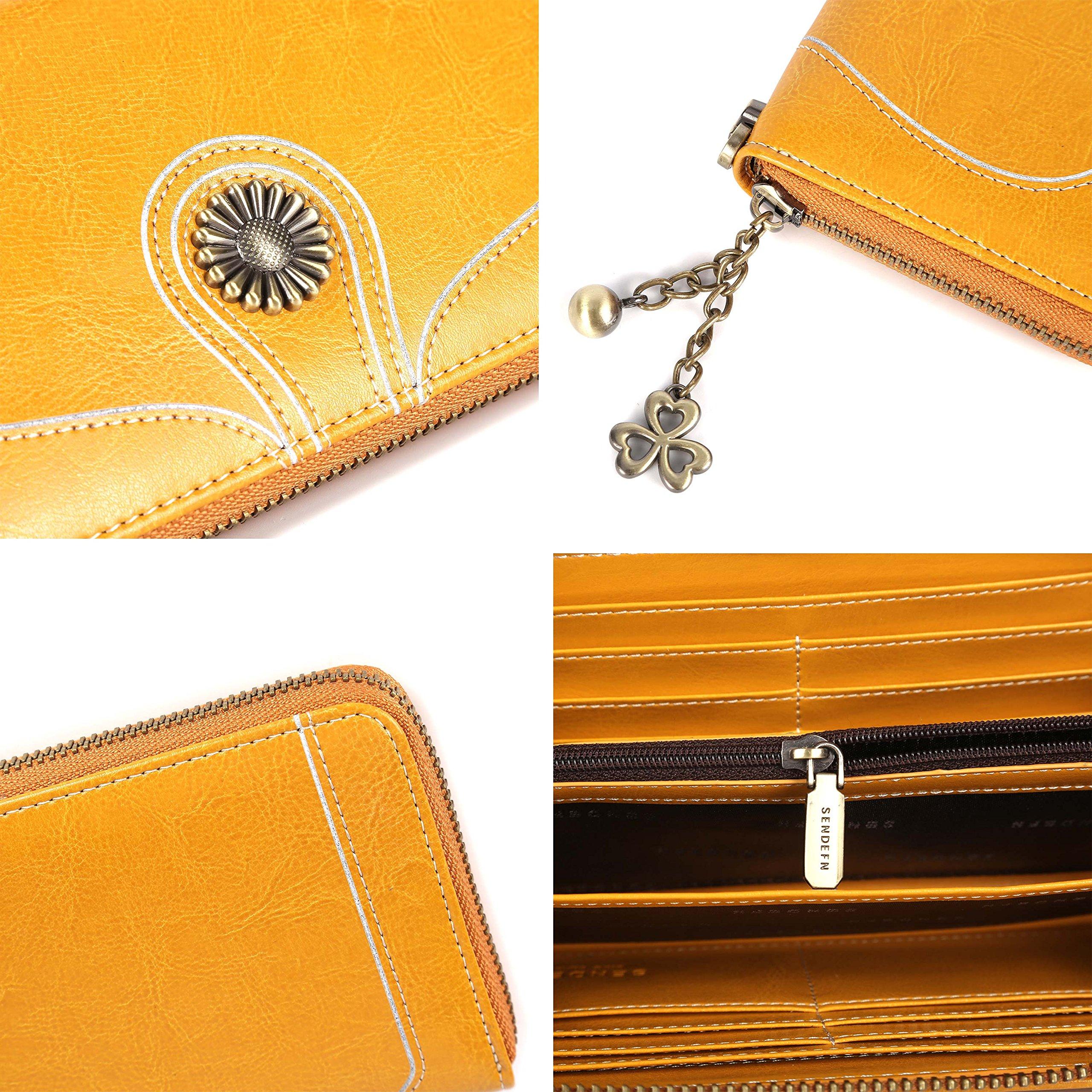 Carteras de Cuero Genuino Monedero/Billetera para mujeres RFID Bloqueo Cera de Lujo Piel Con cremallera, gran capacidad Bolso de la señora-Amarillo