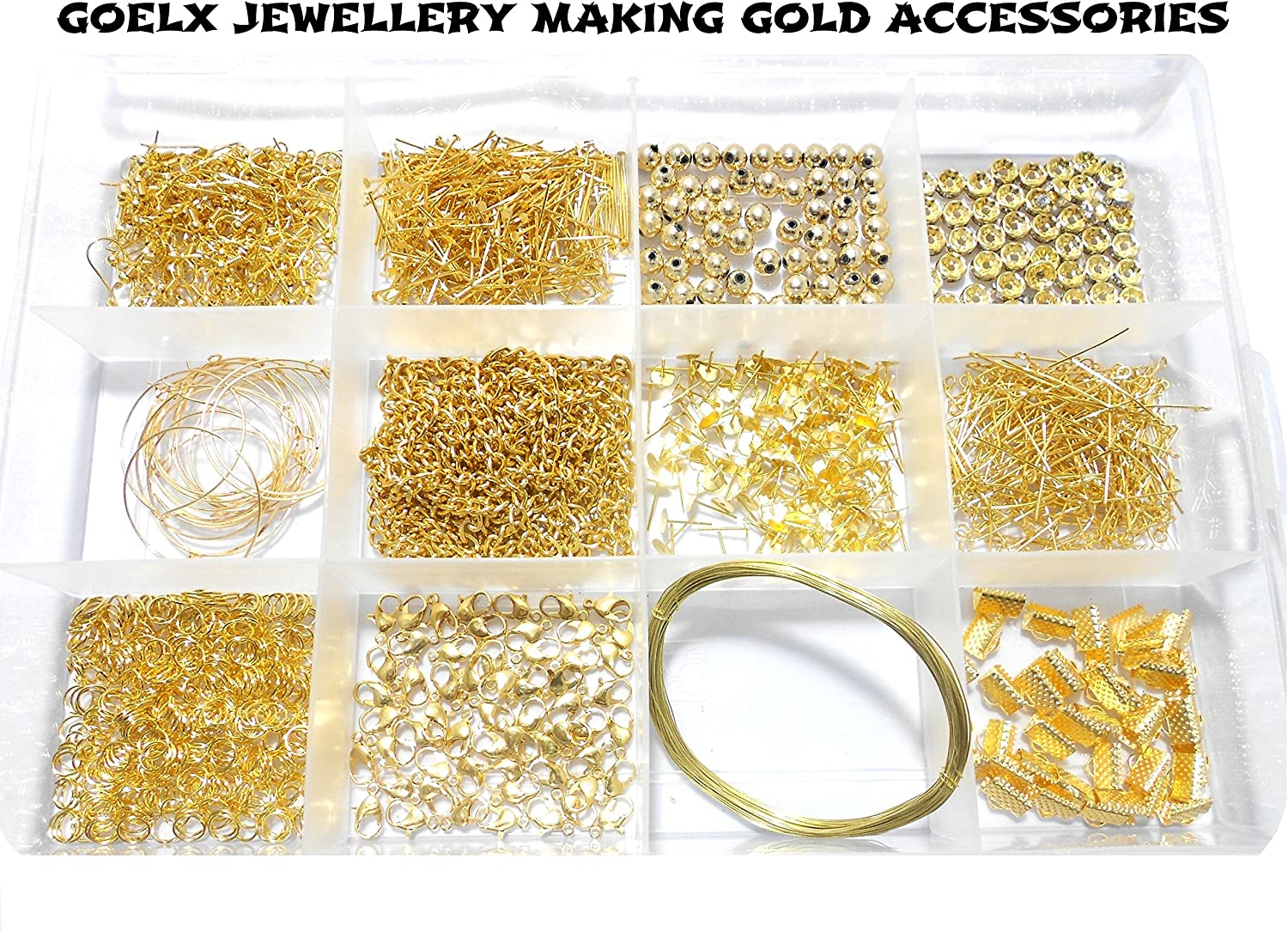 Amazon Com Goelx Goelx Diy Findings Gold Jewellery Making Accessories Kit All Basic Gold Jewellery Materials With Free Storage Box Kitchen Dining