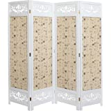 MyGift Asian Oriental Design Large White & Beige Wooden 4 Panel Folding Room Divider/Indoor Privacy Screen