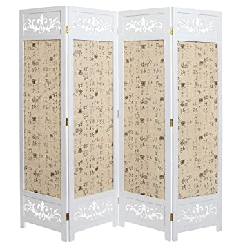 Amazon.com: Asian Oriental Design Large White & Beige Wooden 4 ...