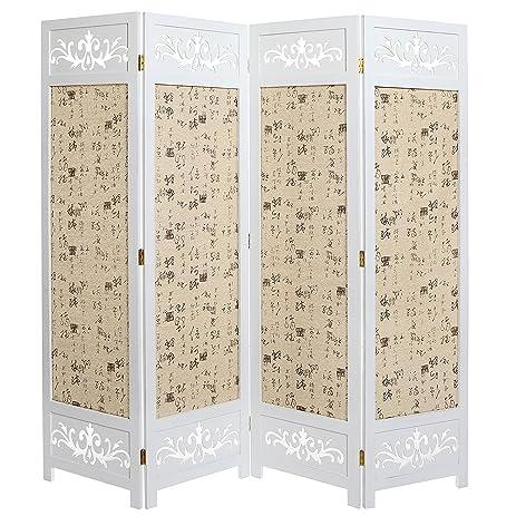Amazon.com: Asian Oriental Design Large White & Beige Wooden 4 ...