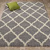 """Ottomanson Ultimate Shaggy Collection Moroccan Trellis Design Shag Rug Contemporary Bedroom Soft Shaggy Kids Rugs,  Grey,  60"""" L x 84"""" W"""