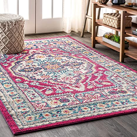 Amazon Com Jonathan Y Bohemian Flair Boho Medallion Vintage Easy Cleaning For Bedroom Kitchen Living Room Non Shedding Area Rugs 5 X 8 Pink Cream Furniture Decor
