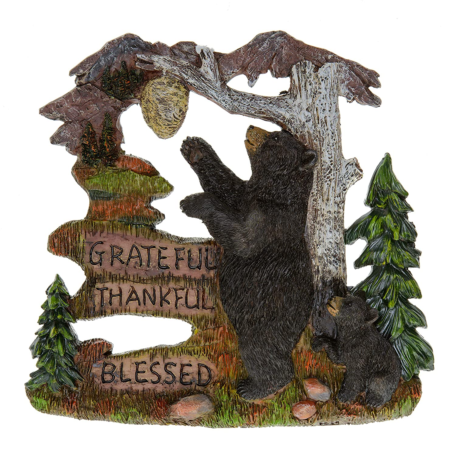 Black Bear Decorations for Home - Wall Signs for Home Decor Family - Decorative Wall Plaques Wildlife Gift Ideas - Bear Wall Hanging Lodge Decorations for Home - Grateful Thankful Blessed 7.87""