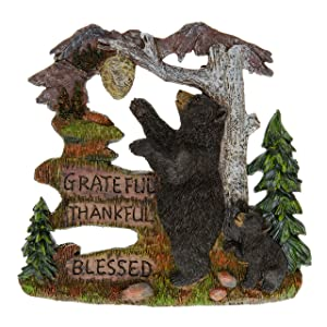 """Black Bear Decorations for Home - Wall Signs for Home Decor Family - Decorative Wall Plaques Wildlife Gift Ideas - Bear Wall Hanging Lodge Decorations for Home - Grateful Thankful Blessed 7.87"""""""