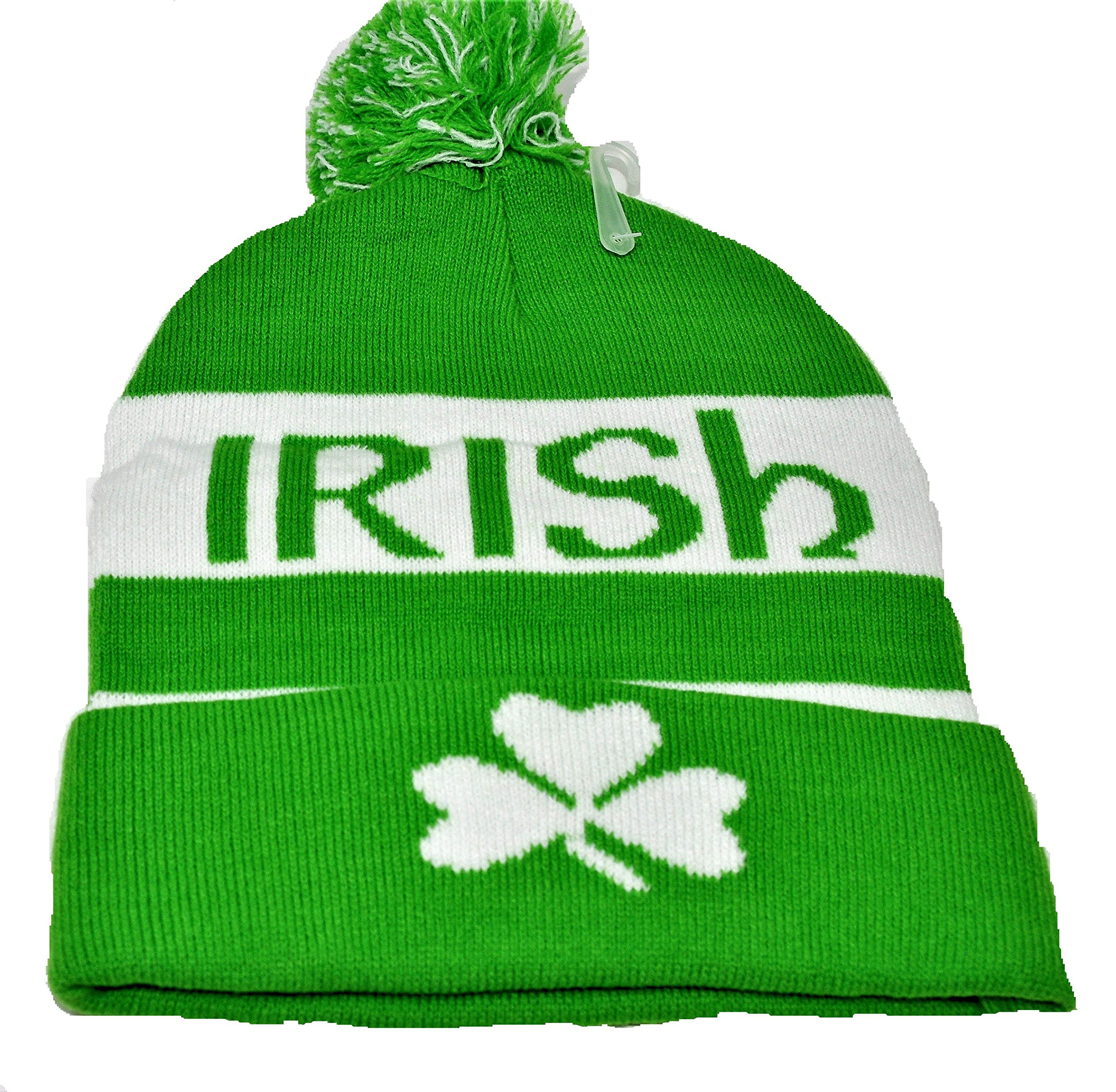 2d1f2f31899853 Vagabond Joes Green White Irish Clover Tassel Pom Knit Beanie ...