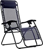 AmazonBasics Outdoor Zero Gravity Lounge Folding Chair, Navy Blue