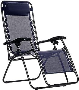 AmazonBasics Outdoor Zero Gravity Lounge Folding Chair, Blue