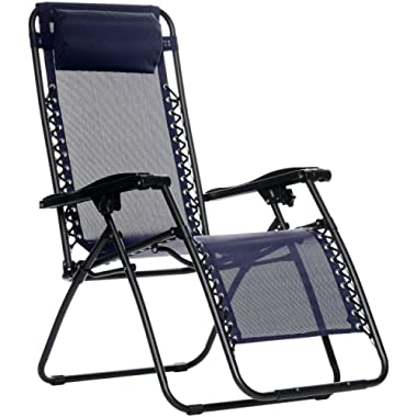 AmazonBasics Outdoor Zero Gravity Lounge Folding Chair, Blue