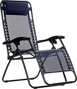 AmazonBasics Outdoor Zero Gravity Lounge Folding Chair, Navy Blue