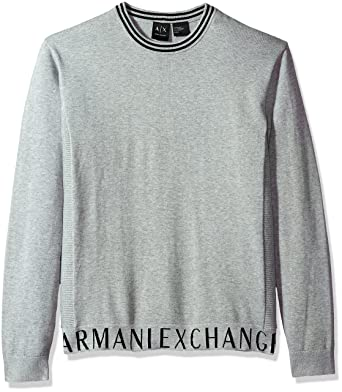 f4c7b00b5db0b6 A|X Armani Exchange Men's Crew Neck Sweater with Logo Banded Bottom, Alloy  HTR