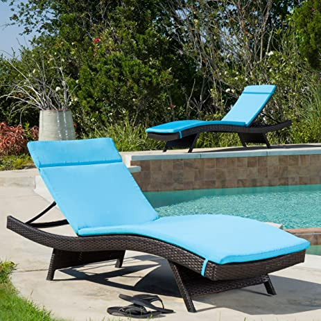 Soleil Outdoor Water Resistant Chaise Lounge Cushion (Blue) : turquoise chaise lounge cushions - Sectionals, Sofas & Couches