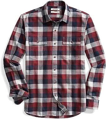 Marca Amazon - Goodthreads Slim-fit Long-sleeve Plaid Herringbone Shirt Hombre