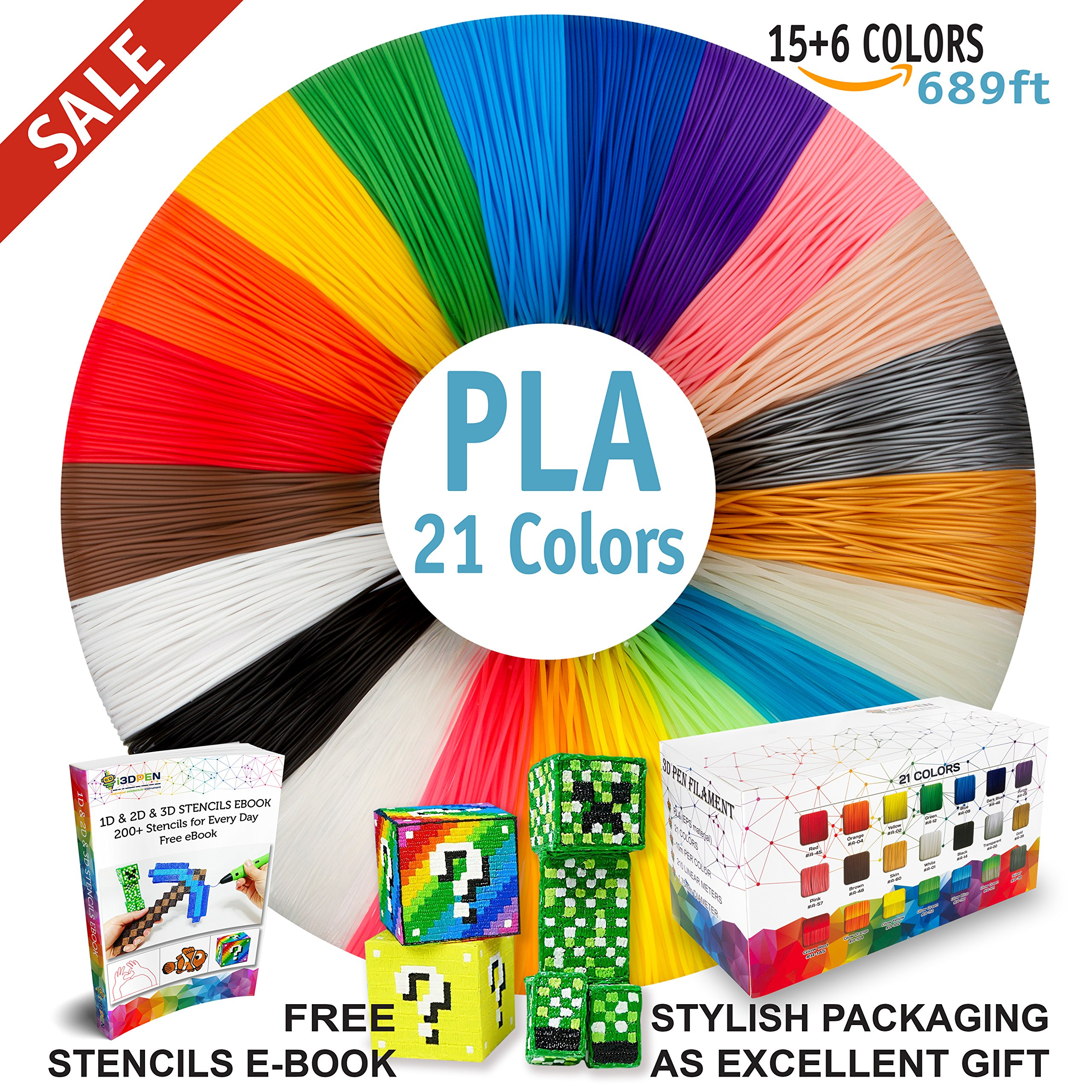 3D Pen Filament Refills - Premium Set of 21 Colors 689ft Bonus 200 Stencils EBook including 6 Glow in the Dark - Best 1.75mm PLA Filament Pack for 3D Pens