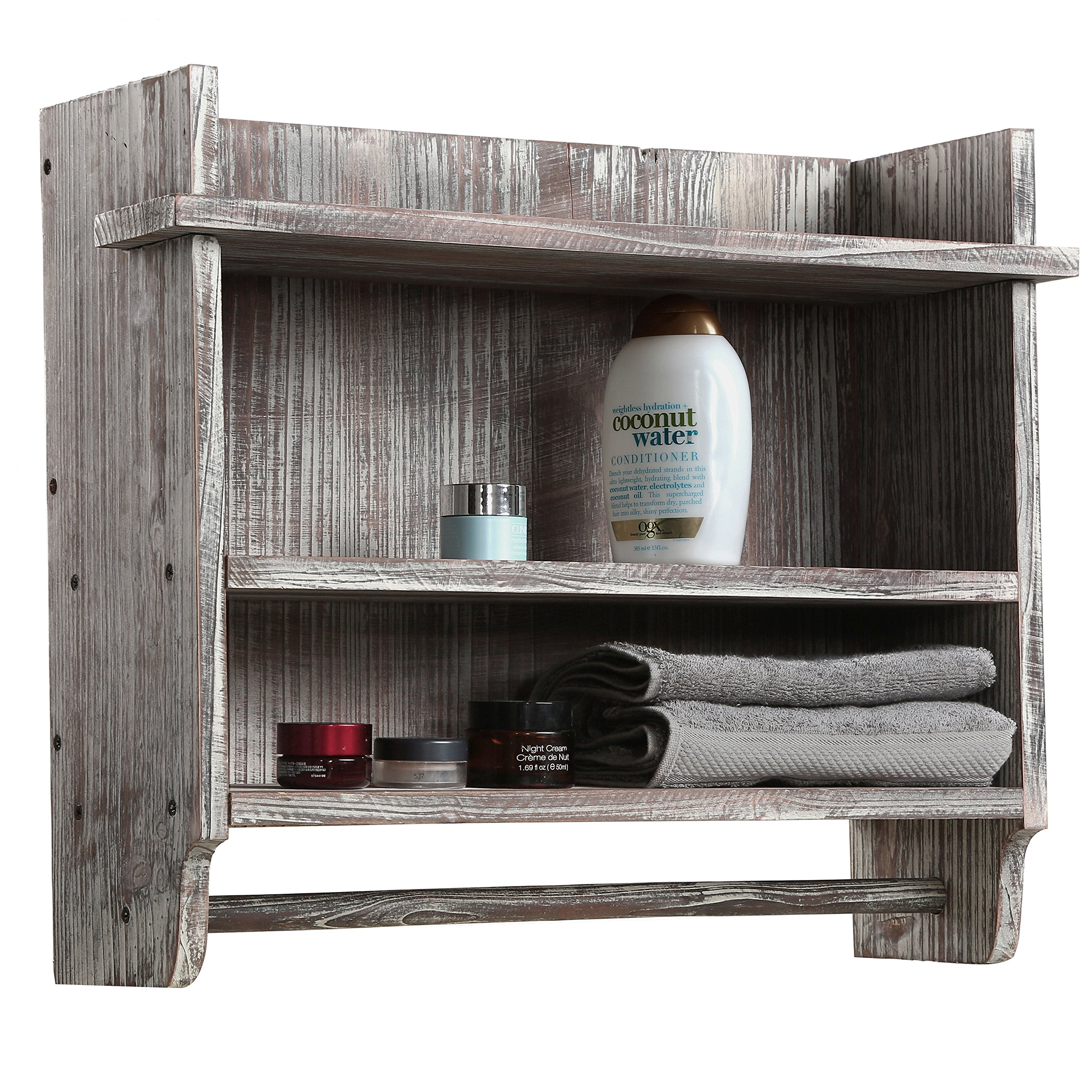 MyGift Wall Mounted Torched Wood Bathroom Organizer Rack with 3 Shelves and Hanging Towel Bar by MyGift