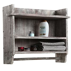 MyGift Wall Mounted Torched Wood Bathroom Organizer Rack with 3 Shelves and Hanging Towel Bar